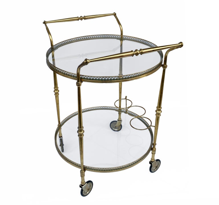 Glass Round Bar Trolley of Maison Baguès, Bar Cart with Bottle Holder, France, 1950s For Sale