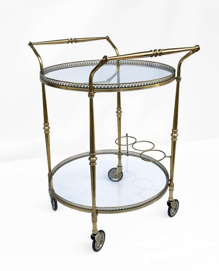 Mid-20th Century Round Bar Trolley of Maison Baguès, Bar Cart with Bottle Holder, France, 1950s For Sale