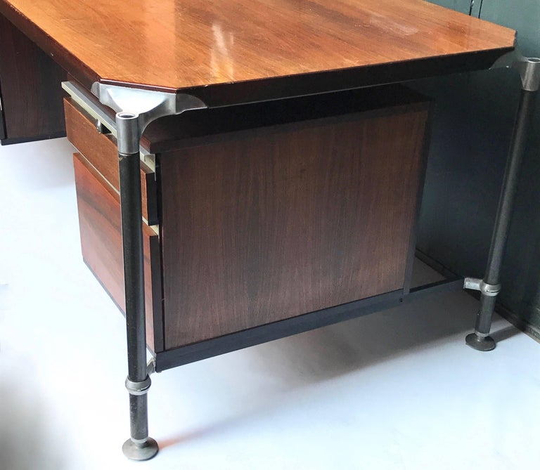 Aluminum Ico Parisi for MIM Roma, Desk Rosewood Executive, Italy, Mid-Century 1950s For Sale