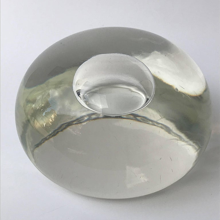 Mid-Century Modern Murano Glass Paperweight, with Air Bubble Barbini Style, Italy, 1980s For Sale