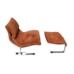 Italian Onda Lounge Chair and Ottoman by Giovanni Offredi for Saporiti, 1970s
