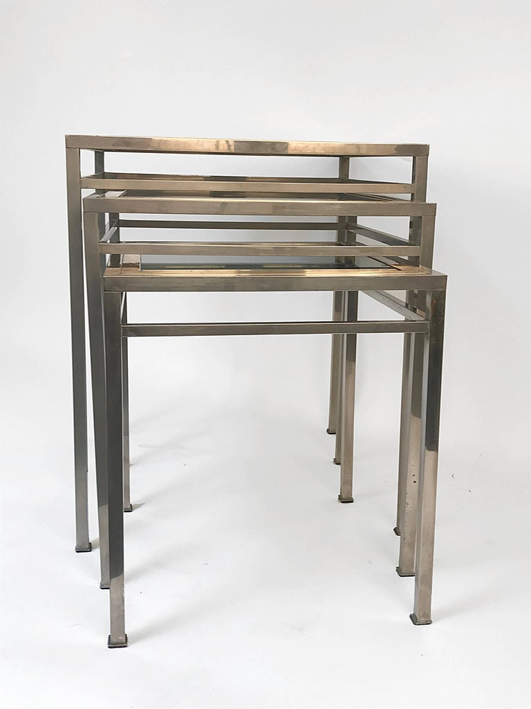 Late 20th Century Midcentury Metal, Brass and Smoked Glass Extractable Coffee Tables, Italy, 1970s For Sale