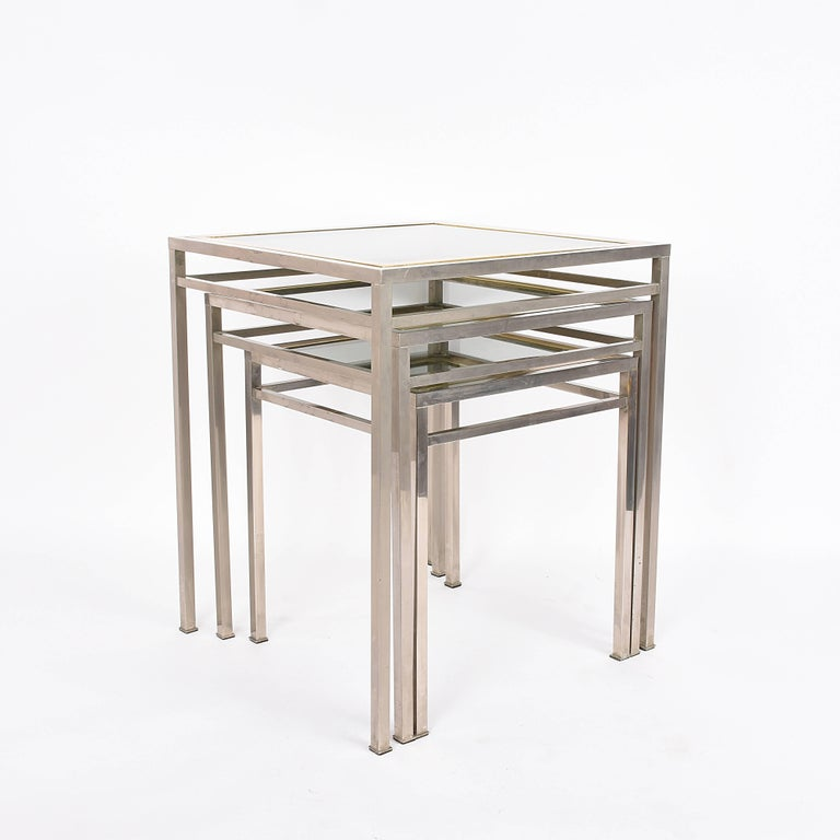 Midcentury Metal, Brass and Smoked Glass Extractable Coffee Tables, Italy, 1970s For Sale 2