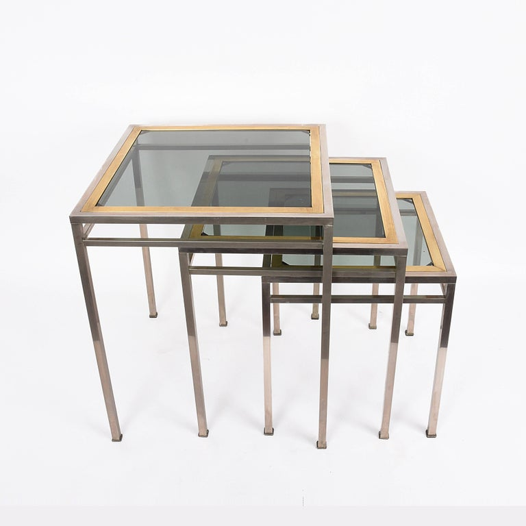 Midcentury Metal, Brass and Smoked Glass Extractable Coffee Tables, Italy, 1970s In Good Condition For Sale In Roma, IT