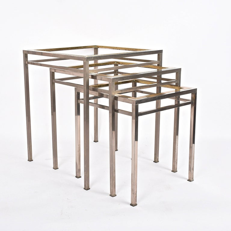 Mid-Century Modern Midcentury Metal, Brass and Smoked Glass Extractable Coffee Tables, Italy, 1970s For Sale