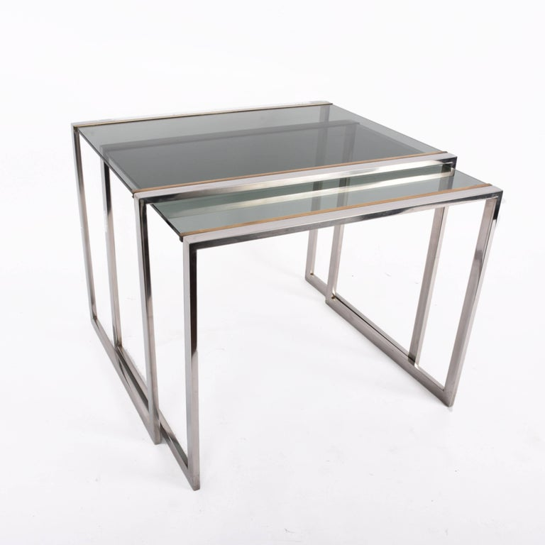 French Nest of tables in metal and brass smoked glass: France 1970s