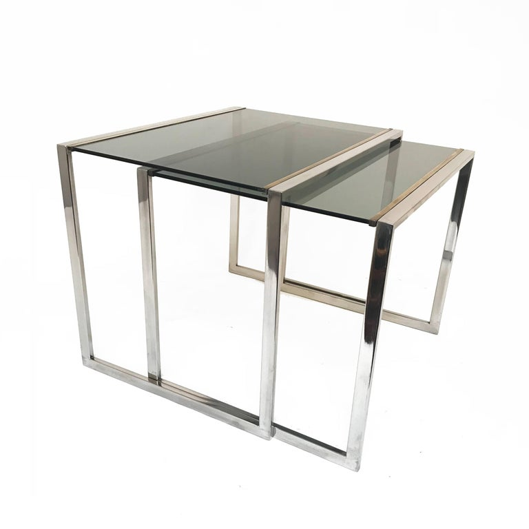 Nest of tables in metal and brass smoked glass: France 1970s  3