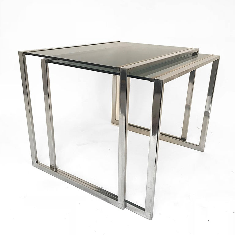 Nest of tables in metal and brass smoked glass: France 1970s  1