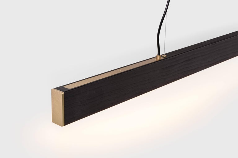 American 2x4 Pendant in Black Dyed Wood For Sale