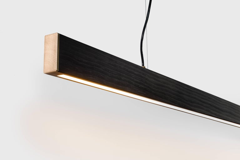 The 2x4 pendant is made from the most common piece of dimensional lumber, the simple 2x4. The 2x4 celebrates the minimal and the ordinary. It is simple and true to its form, and with some luxurious touches, the 2x4 is transformed into a beautiful
