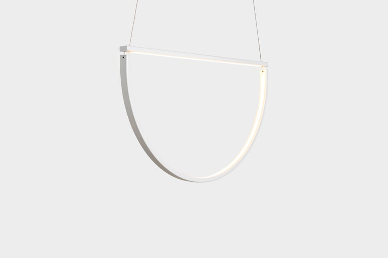 Powder-Coated Chord Chandelier in White by Alexallen Studio For Sale