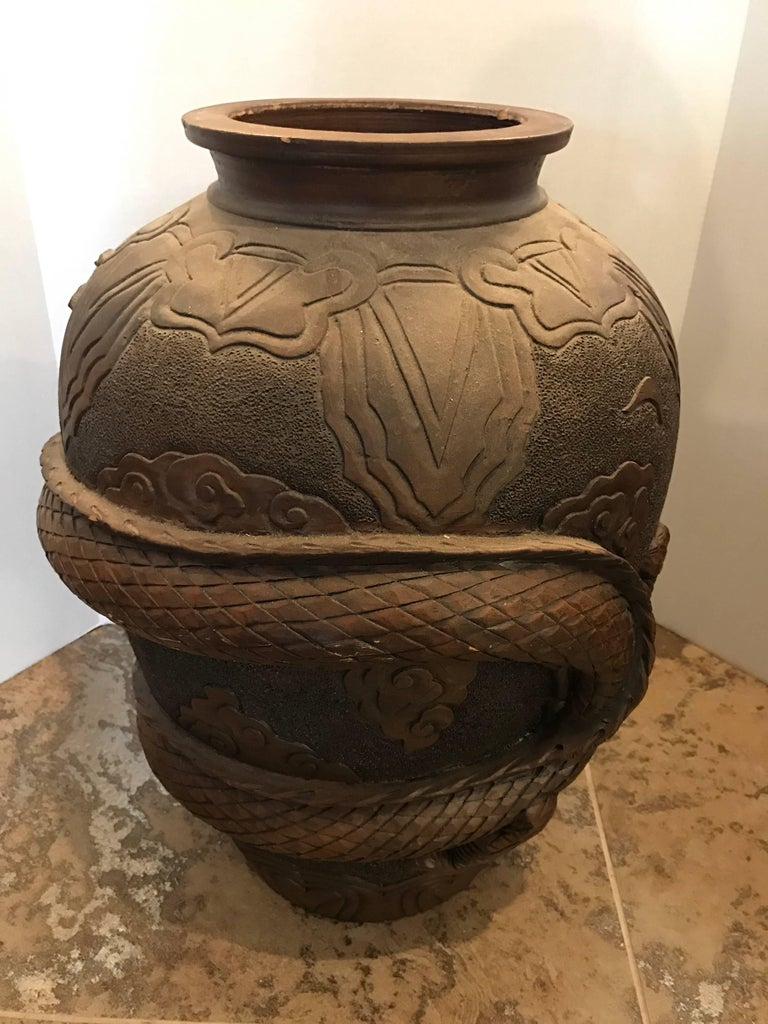 Chinese Terracotta Dragon Floor Vase For Sale At 1stdibs