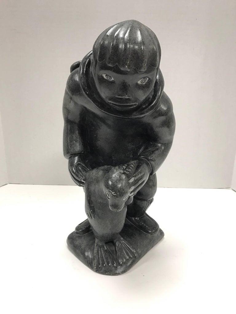 Inuit soapstone sculpture figurine art figure for sale at