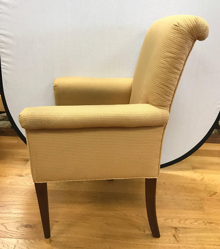 Four baker furniture gold upholstered armchairs for sale for Baker furniture