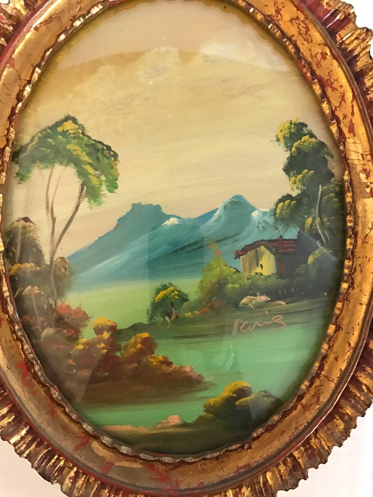pair of signed italian oval oil paintings in giltwood frames for sale at 1stdibs. Black Bedroom Furniture Sets. Home Design Ideas