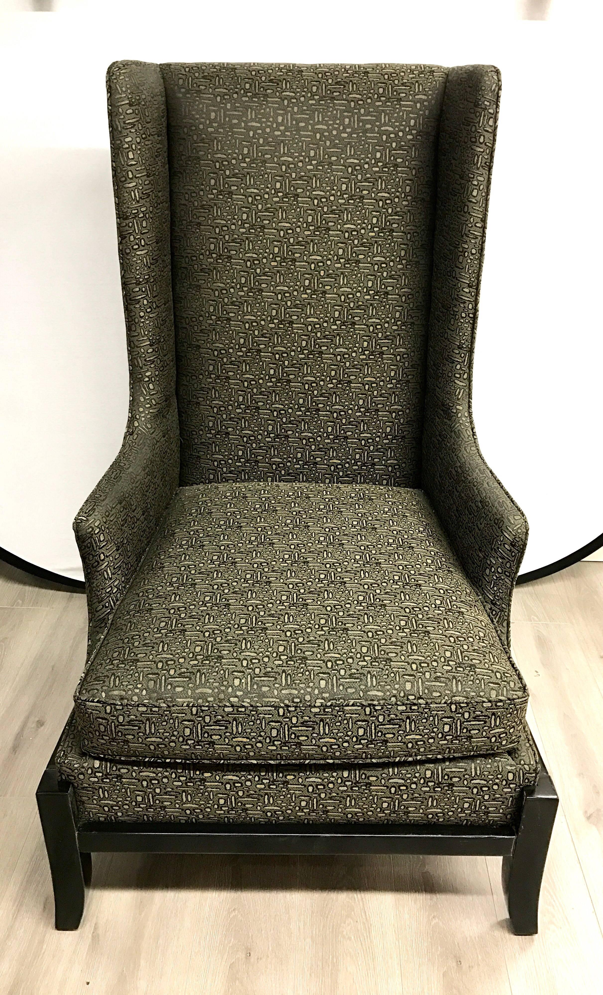 Coveted Baker Furniture Signed Large Wingback Chair With Ebonized Base.  Fabric Is Pewter And Black