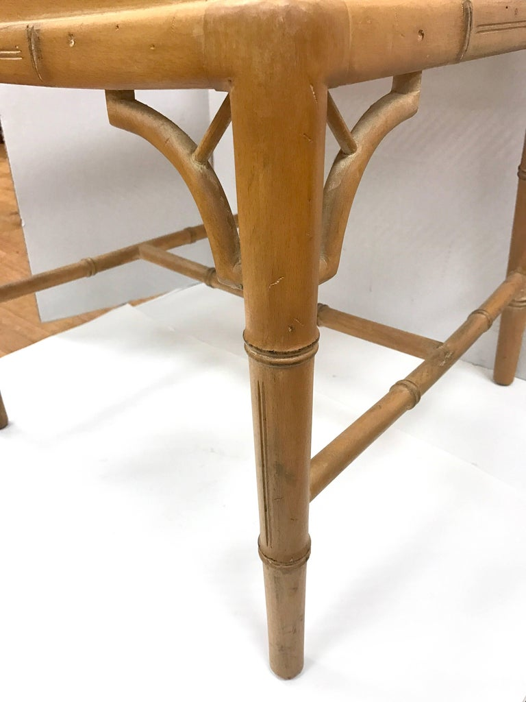 Faux Bamboo Chinese Chippendale Style Chairs With Cane