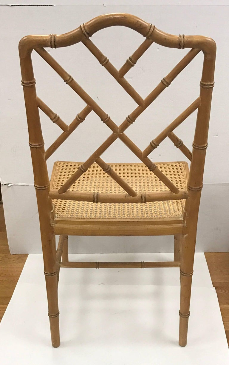 Faux bamboo chinese chippendale style chairs with cane for Chinese style furniture for sale