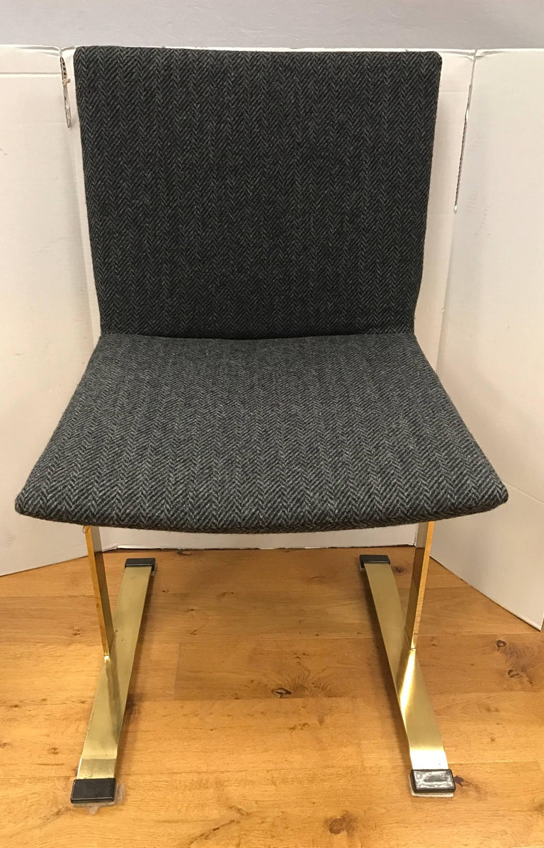 Set of Four Giovanni Offredi Saporiti B&B Italia Brass Dining Chairs Mid-Century In Excellent Condition For Sale In West Hartford, CT