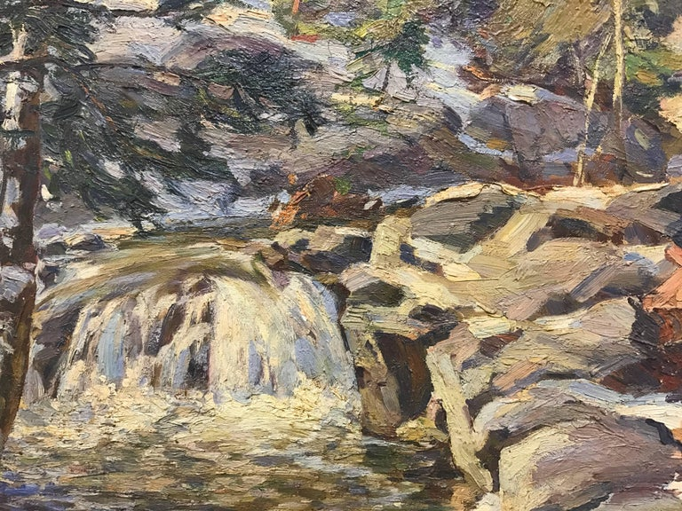 Original oil painting of a small New England waterfall scene by Frederick Lester Sexton (1889 - 1975),  one of the unsung heroes of Connecticut Regionalism.  He was a master painter whose work was widely exhibited and favorably reviewed for five