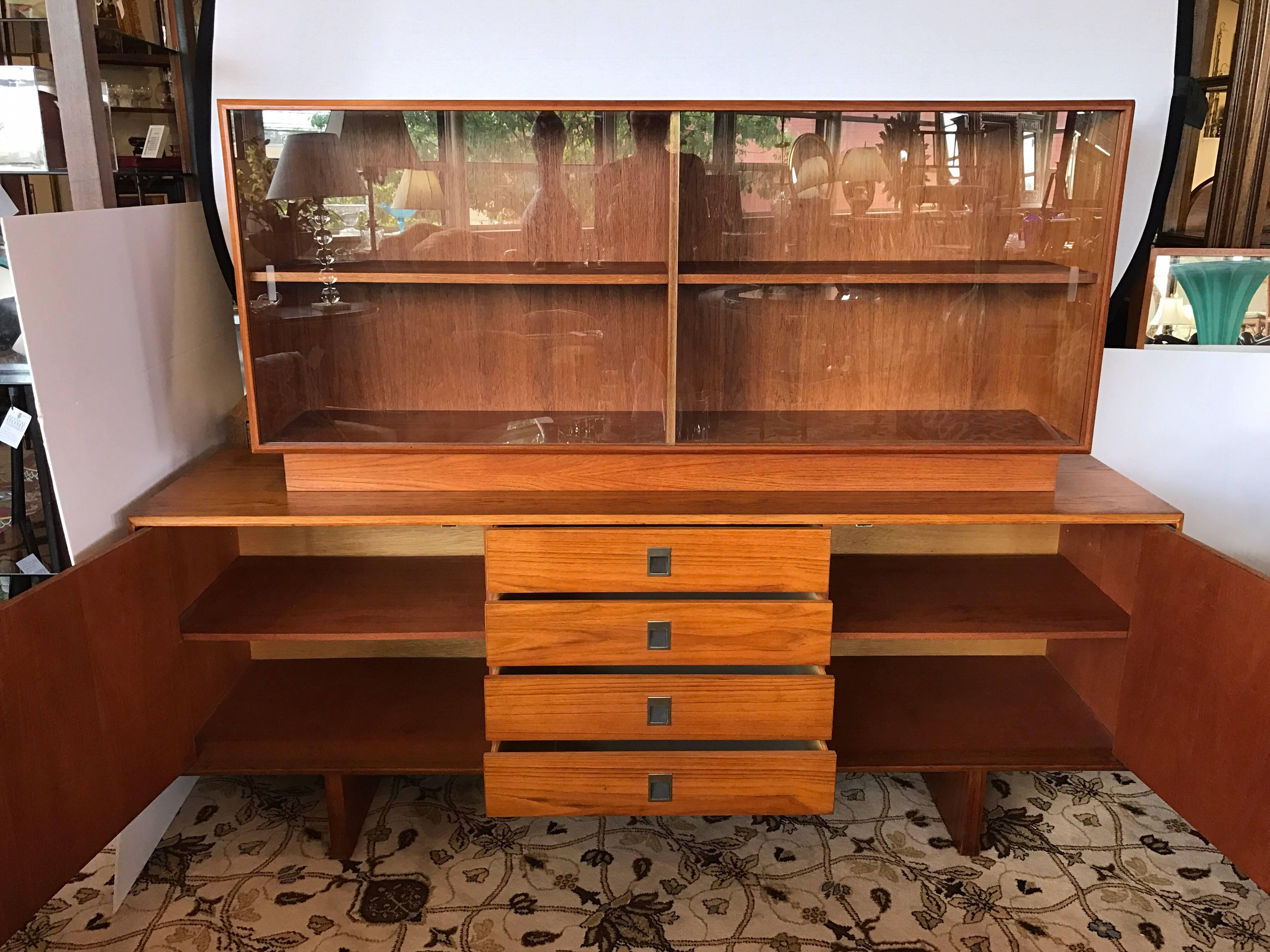 Elegant Mid Century Modern China Cabinet And Buffet Featuring Four Centre Drawers,  Shelved Storage On