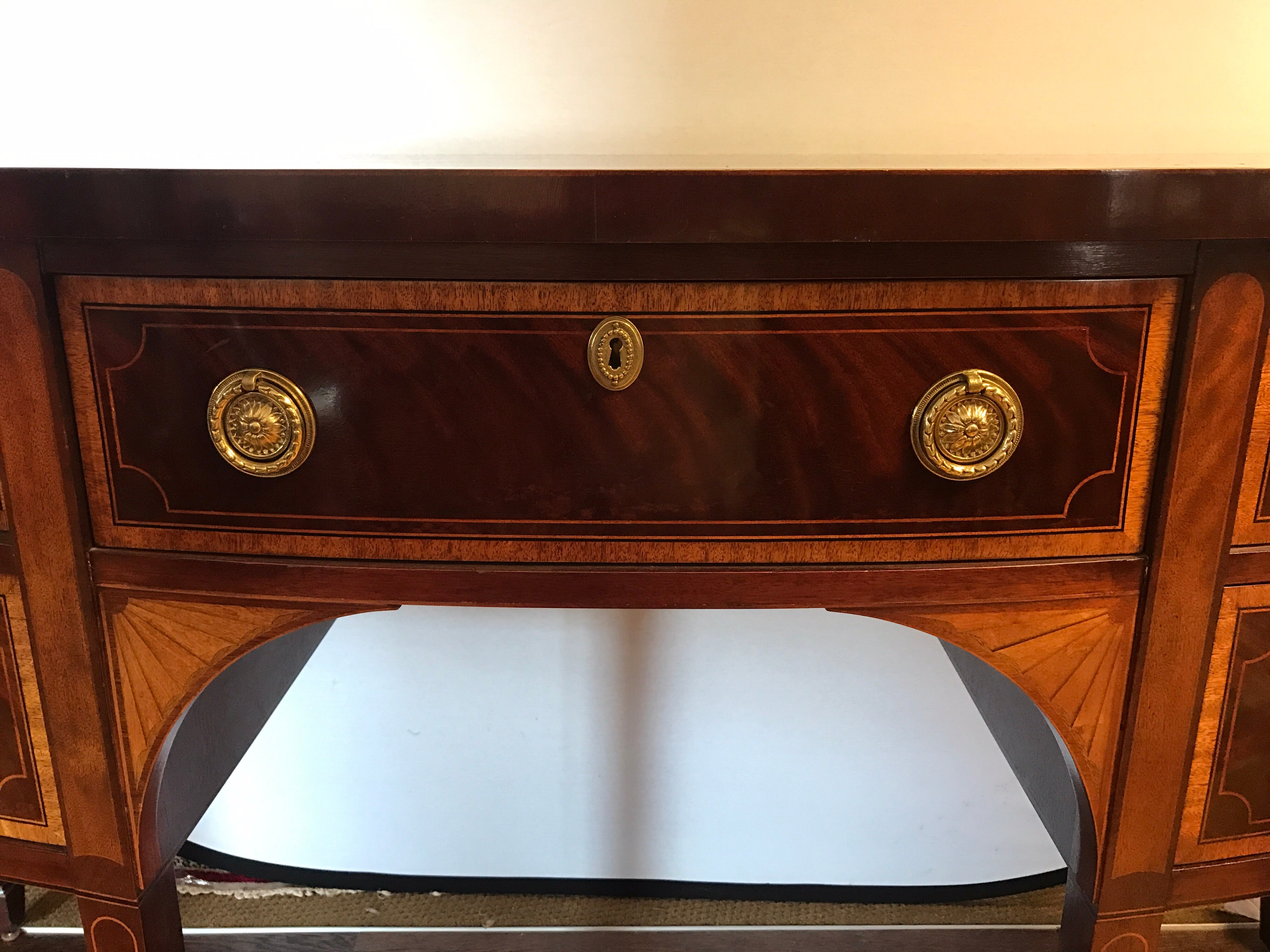 Credenza Definition In English : Baker furniture mahogany inlay bow front sideboard buffet server