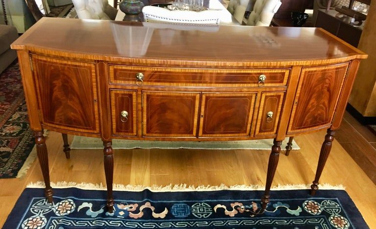 Maitland Smith Flame Mahogany Buffet Server Sideboard Credenza Cabinet In Good Condition For Sale In West Hartford, CT