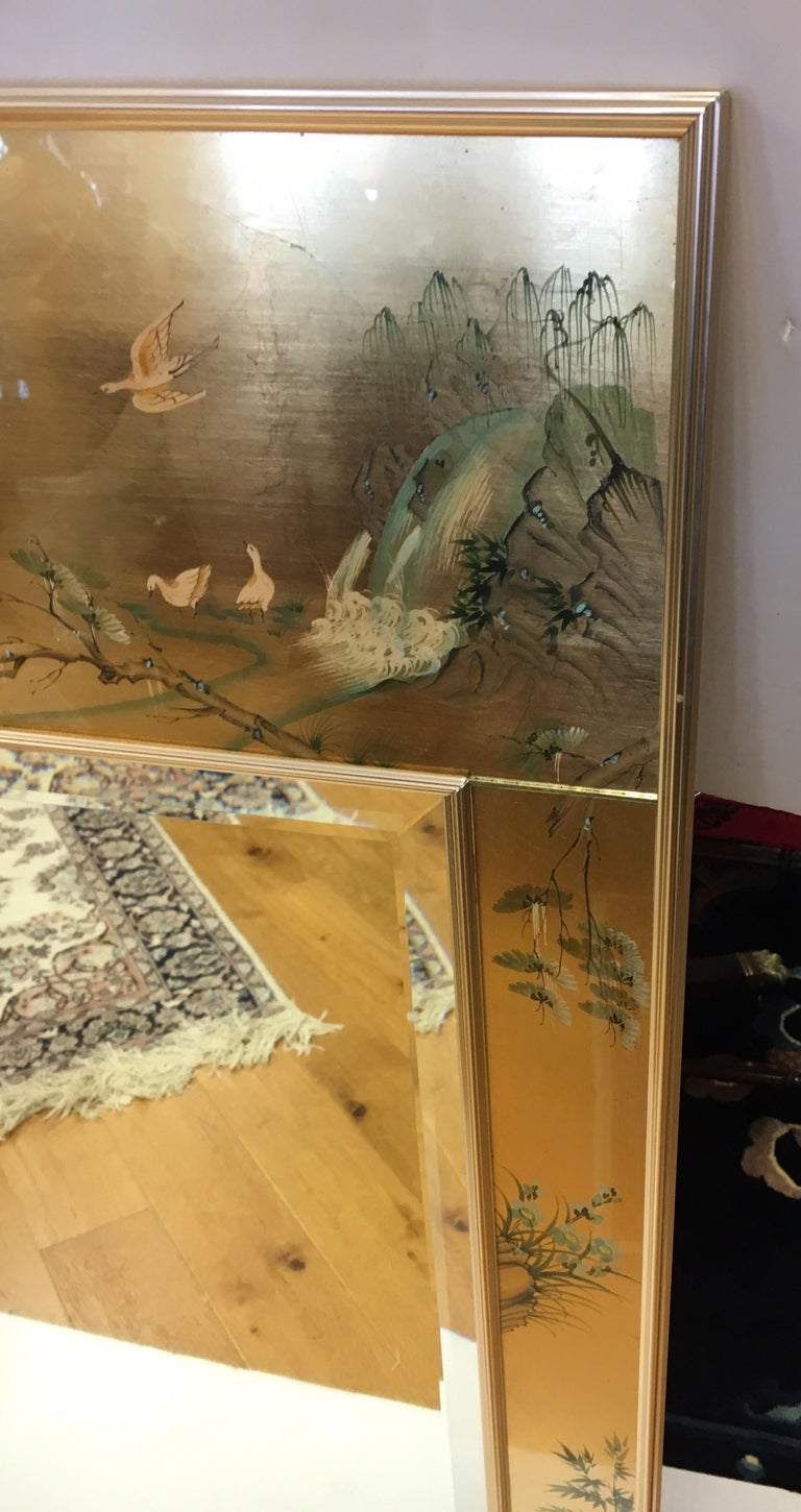 Signed LaBarge La Barge Eglomise Reverse Painted Chinoiserie Wall Mirror DePrez In Excellent Condition For Sale In West Hartford, CT