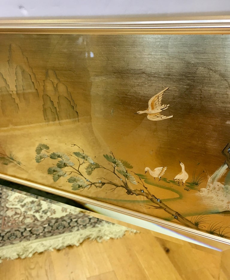 Signed LaBarge La Barge Eglomise Reverse Painted Chinoiserie Wall Mirror DePrez For Sale 1