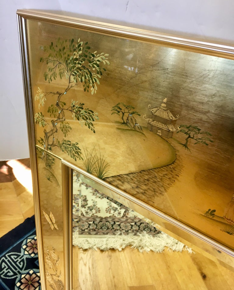 Signed LaBarge La Barge Eglomise Reverse Painted Chinoiserie Wall Mirror DePrez For Sale 2