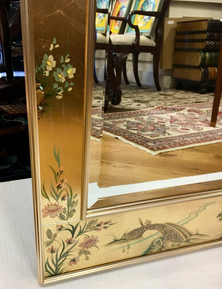 Signed LaBarge La Barge Eglomise Reverse Painted Chinoiserie Wall Mirror DePrez For Sale 3