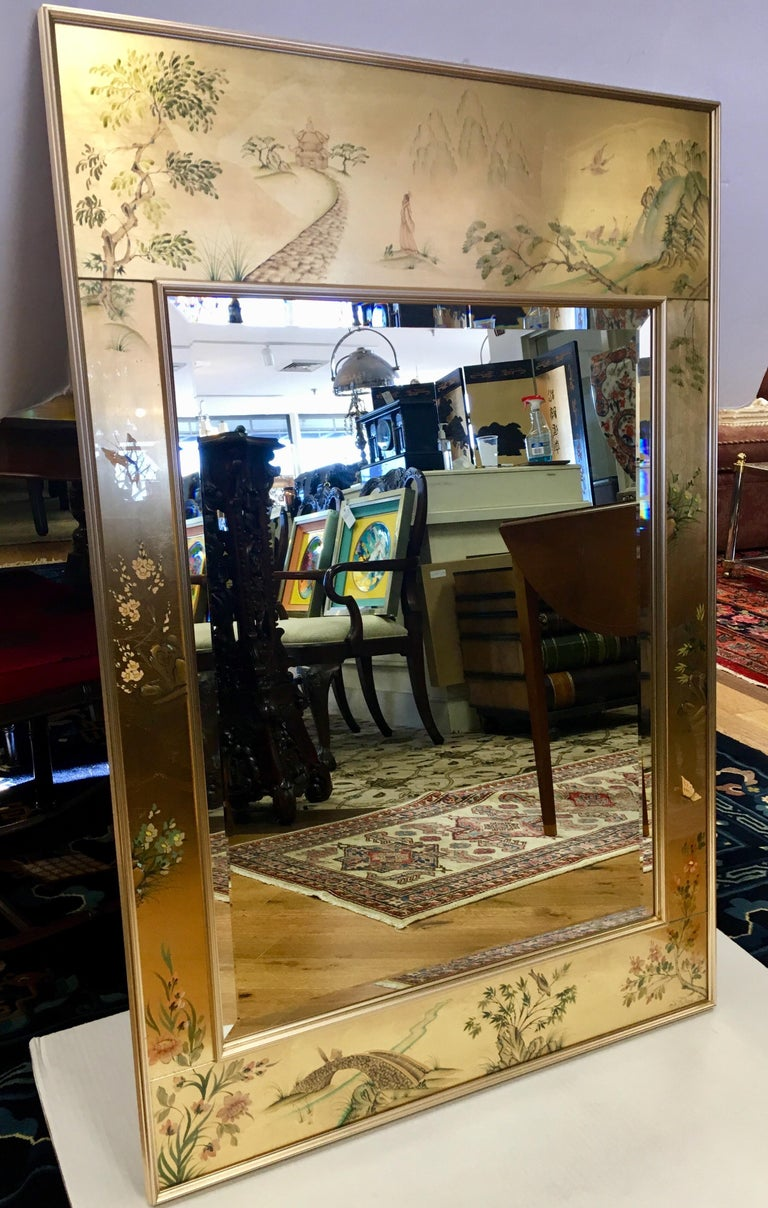 Signed LaBarge La Barge Eglomise Reverse Painted Chinoiserie Wall Mirror DePrez For Sale 4