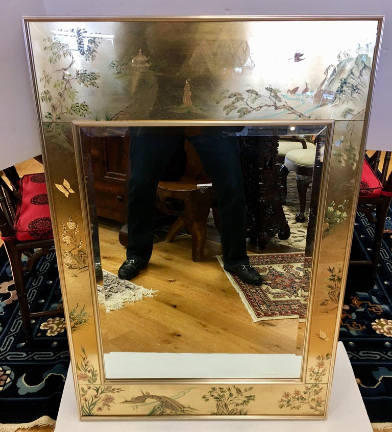 Signed LaBarge La Barge Eglomise Reverse Painted Chinoiserie Wall Mirror DePrez For Sale 5