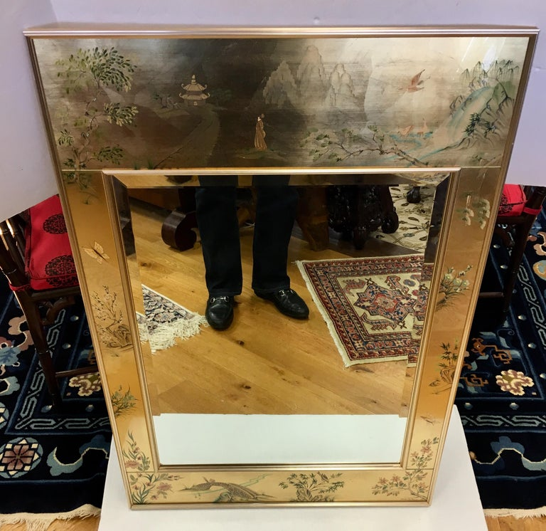 Signed LaBarge La Barge Eglomise Reverse Painted Chinoiserie Wall Mirror DePrez For Sale 8