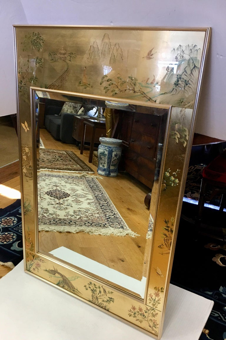 Signed LaBarge La Barge Eglomise Reverse Painted Chinoiserie Wall Mirror DePrez For Sale 9