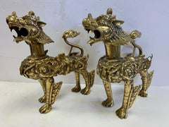Pair of Standing Brass Chinese Export  Asian Foo Dogs with Gilt Gold Finish
