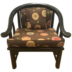 Mid-Century Modern Chinese Black Horseshoe Chair James Mont Style