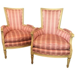 Pair of Matching French Cream Painted Upholstered Pink Plaid Armchairs