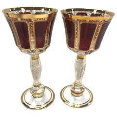 Moser Pair of Burgundy and Gold Bohemian Wine Glasses Goblets