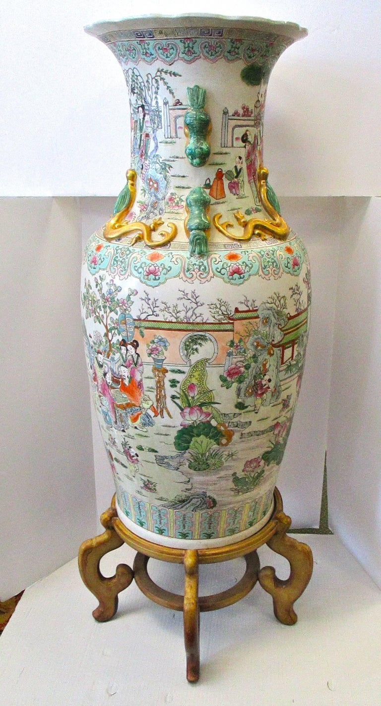 Large Chinese Rose Medallion Vase Urn On Stand At 1stdibs