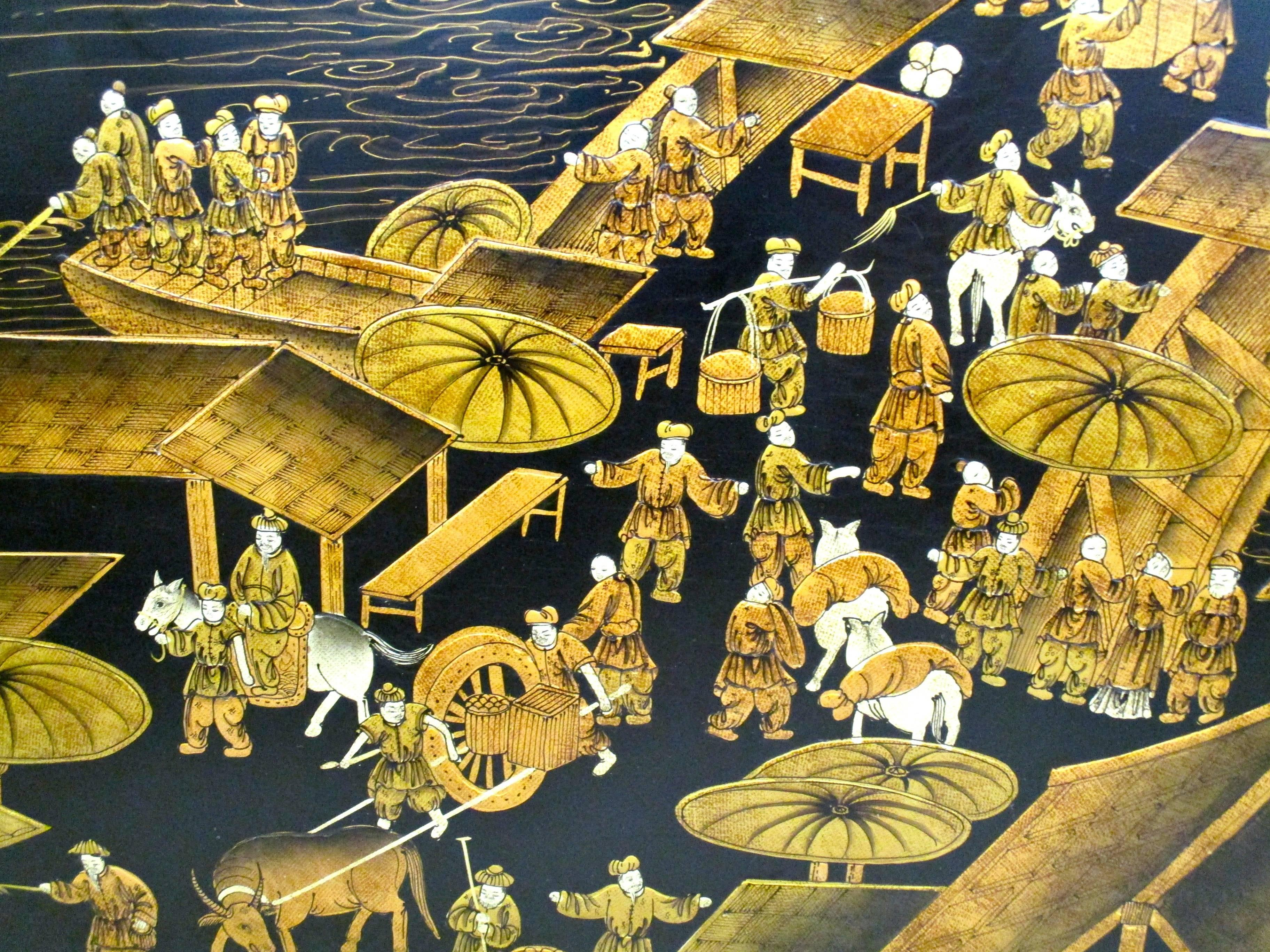 Chinese Original Black Lacquer Wall Painting Plaque Panel Art For ...