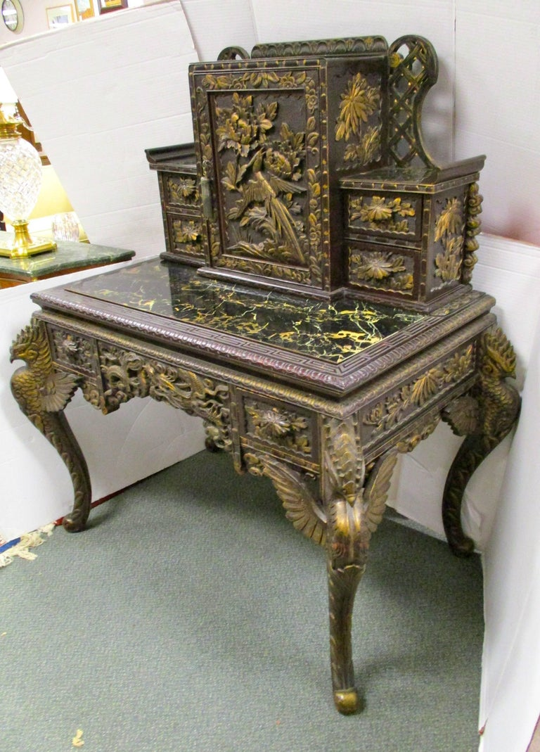 Dark Chinese Secretary Desk Circa Early 20th Century Features Intricately