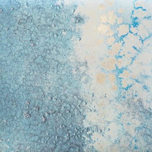 Oceania Siren Wallpaperl in Silver & Metallic Blue