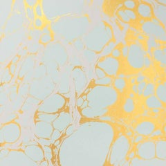 Wabi Lichen Wallpaper or Wall Mural in Mint and Gold Metallic