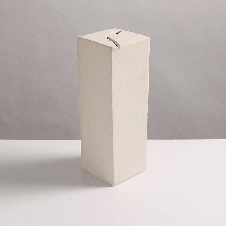 Rift Hand Carved Modern White Geometric Unglazed Porcelain Vases
