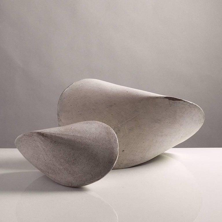American Small White Crackle Finish Modern Ceramic Pod Sculpture For Sale