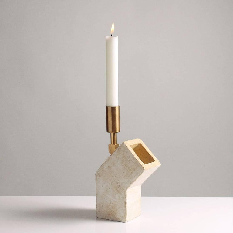 'Conduit' Brutalist White Ceramic and Brass Candlesticks, Pair In Excellent Condition For Sale In Bronx, NY