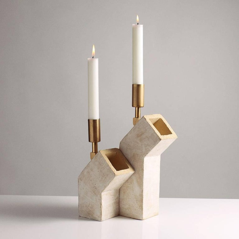 American 'Conduit' Brutalist White Ceramic and Brass Candlesticks, Pair For Sale