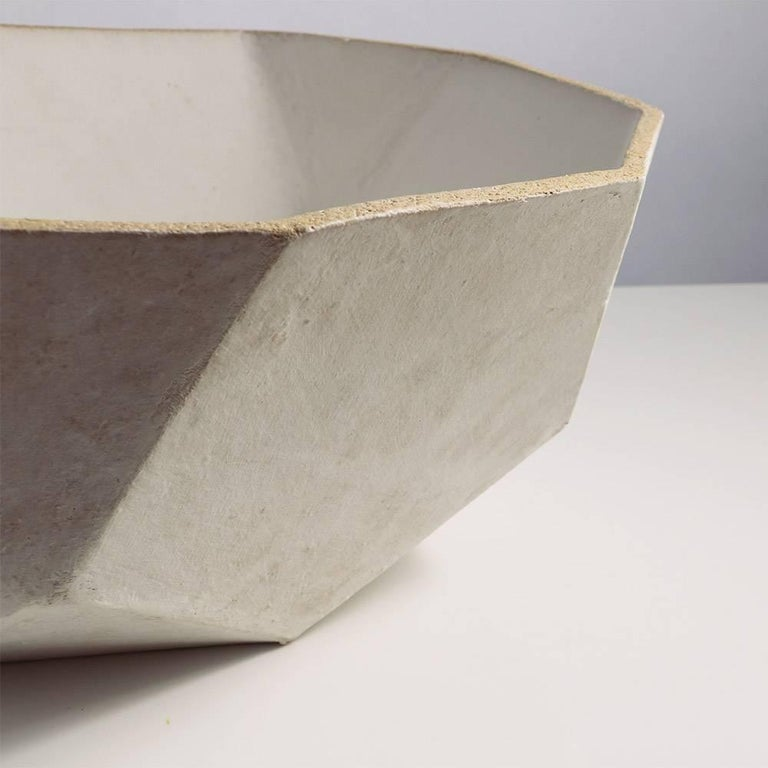 American 'Geode' Geometric White Ceramic Large Bowl For Sale