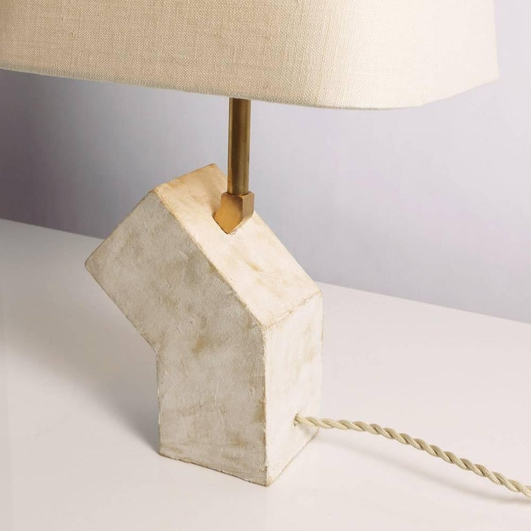 'Conduit' Brutalist White Ceramic and Brass Small Table Lamp In New Condition For Sale In Bronx, NY